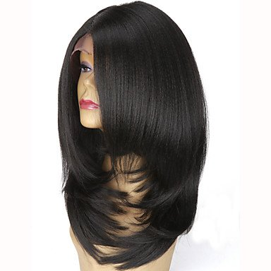 Femme synthétique Lace Front Perruque L supplémentaire Medium droites Yaki Noir naturel Violet foncé Vin Medium Brown/Dark Auburn partie du milieu Bob