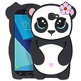 Yonocosta Cute Case for Samsung Galaxy J7 V / J7 2017 / J7 Prime / J7 Perx / J7 Sky Pro/Galaxy Halo Case, Funny 3D Cartoon Animals Panda Shaped Soft Silicone Shockproof Case Cover (Panda)