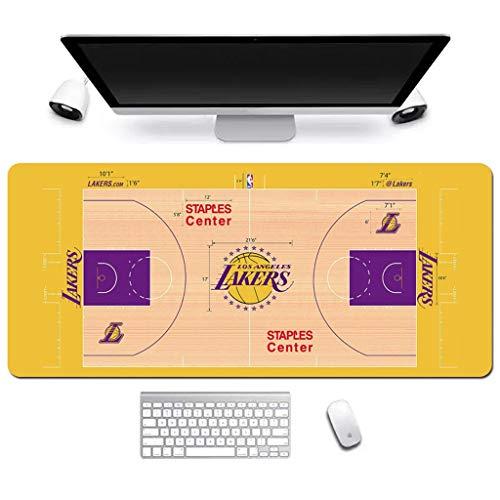DJFT Tappetino per mouse da gioco esteso NBA Lakers Basketball Field grande tappetino per mouse impermeabile antiscivolo gioco mouse pad per ufficio casa PC desktop desktop, Gomma, 800*300*3mm
