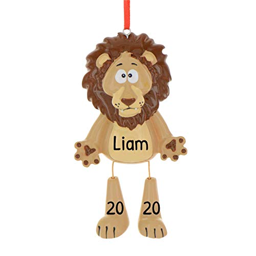 Personalized Forest Animals Christmas Tree Ornament 2020 - Cute Brown Lion Dangling Legs Zoo Collection Adventure Toy Costume King Guard Brave Simba Kion Gift Year - Free Customization