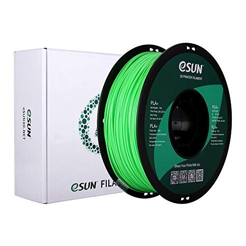 eSUN PLA+ Filament 1.75mm, PLA Plus 3D Printer Filament, Dimensional Accuracy +/- 0.03mm, 1KG (2.2 LBS) Spool 3D Printing Filament for 3D Printers, Peak Green