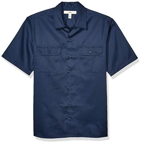 Amazon Essentials Short-Sleeve Stain and Wrinkle-Resistant Work Shirt camisa, Azul (Navy), ((Talla del fabricante: Medium)