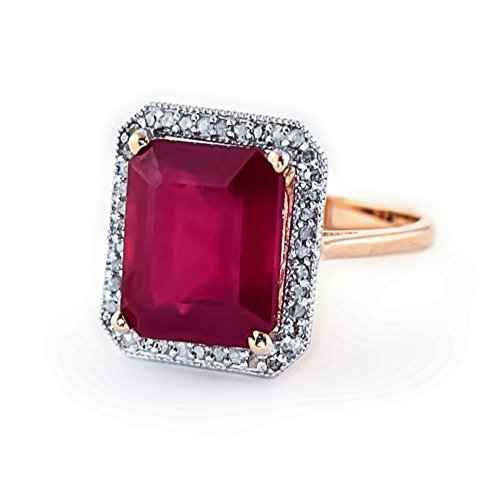 Galaxy Gold 7.45 ct 14k Solid Gold Emerald Cut Ruby Halo Diamond Ring 4894 (Rose-Gold, 6.5)