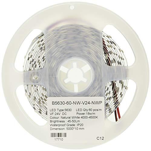 (LA) ROLLO de 5 metros de Tira de led 18w/metro a 24v, 4800 lumenes reales! Cinta strip profesional 18w diodo 5630 5m 60 led/m. Alta luminosidad. (Blanco neutro 4500K, Potencia 18w/m)