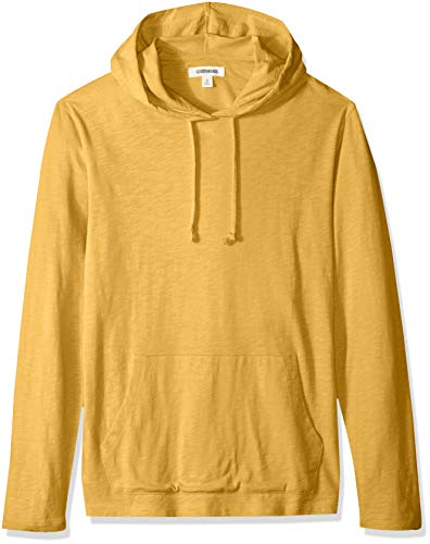 Goodthreads Men's Lightweight Slub T-Shirt Hoodie, gold, Medium