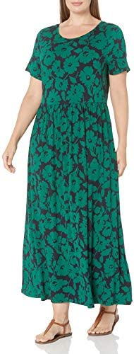 Amazon Essentials Women s Plus Size Short Sleeve Waisted Maxi Dress Green Navy Abstract Floral product image