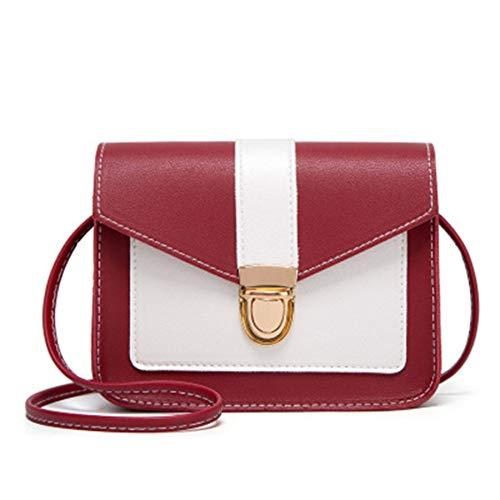 Bolsos cuadrados pequeños casuales con cierre de color con patrón de Napa, bandolera bandolera para mujer, bolsos prácticos de moda para mujer, rojo