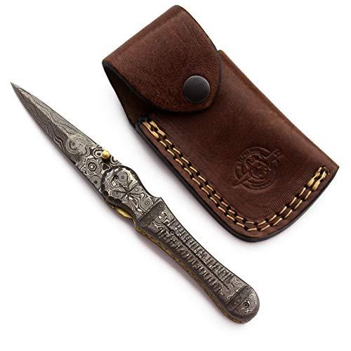 WolfKlinge Custom Handmade Damascus Steel Folding Pocket Knife with Strong Bone Handle and Cowhide Leather Sheath DCF18-110