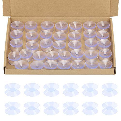 BIGKASI 36PCS Ventosas de Doble, Ventosa Acuario Cara Transparente Plástico para Mesa de Vidrio/Pared/Ventana/Cristal/Espejo/Hogar Creativo del Ornamento Ventosa de Suspensión(Diámetro: 30 mm)