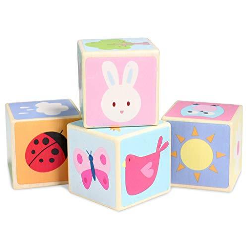 Le Toy Van- 4 Cubes Bois Joli, PL007, 4 Blocks