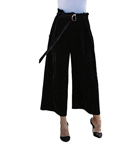 Linnuo Mujeres Elegante Pantalones Terciopelo Moda Anchos Pierna Pantalones Cintura Alta con Cinturón