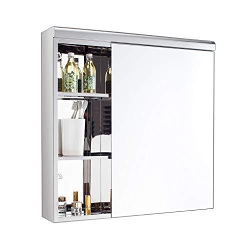 JN - Armario de baño moderno con estante interno para cosméticos, afeitadoras de baño, espejo de baño, armario de almacenamiento