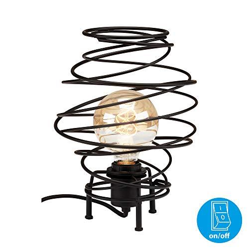 Briloner Leuchten Tischleuchte, Tischlampe 1-flammig, Nachttischleuchte retro, vintage, Black Steel, 1x E27, max. 60 Watt, inkl. Kabelschalter, Schwarz, 210x293 mm (DxH)