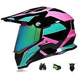 HAOYUNLAI DOT/ECE Certification Full-Face Motocross Anti-Collision Helmet with Sun Visor Adult Men and Women Dual Sports Motocross Downhill Helmet Motocross Bike MX ATV Helmet,Pink (Color Mirror),M