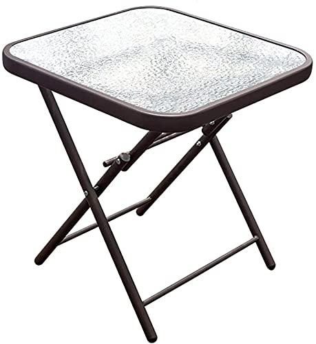 WSVULLD Mesa Plegable, Vidrio Templado de Agua Transparente ondulación de Cocina Mesa de Comedor Cuadrado, balcón al Aire Libre Mesa de café pequeña, Mesa pequeña multifunción doméstica, 50 * 52 cm