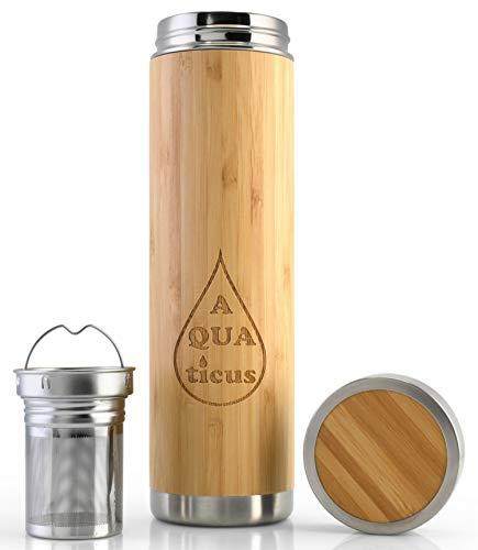 AQUAticus Botella Térmica de Bambu con Infusor - Tapa, Botella Aislada de Doble Pared para Té Caliente y Bebidas Frías - Colador de Acero Inoxidable SUS304 - Frasco de Viaje de Madera - 500ml