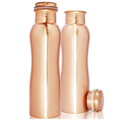 Botella de agua de cobre puro 100 % – Botella de agua Ayurvedic Water Copper Bottle – Tapa selladora a prueba de fugas, sin junta de cobre de 900 ml (diseño)