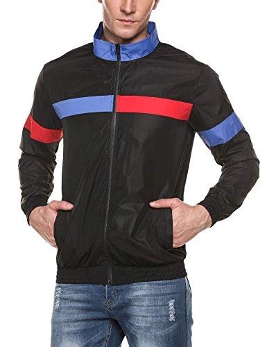 COOFANDY Men's Casual Full Zip Up Lightweight Running Jacket Outdoor Bomber Jacket Coat Black