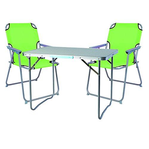 Mojawo Ensemble de Meubles de Camping en Aluminium Camping L70 x B50 x H59 cm 1 x Table de Camping avec poignée + 2 chaises Vert Citron Plastique Oxford