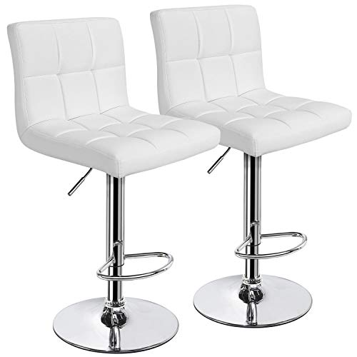 Yaheetech X-Large Bar Stools - Square PU Leather Adjustable Counter Height Swivel Stool Armless Chairs Set of 2 with Bigger Base, White
