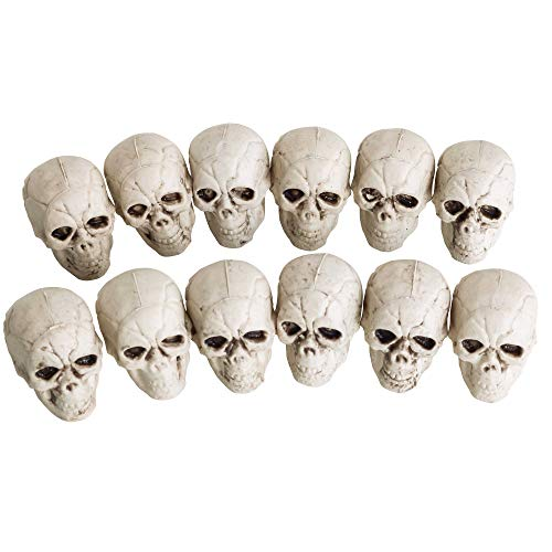 Halloween Haunters 12 Piece Bag of 2' Mini Skulls Haunted House Party Prop Decorations - Scary Realistic Plastic Skeleton Heads - Add to Costumes, Hats or Display at Haunted House Graveyard Party