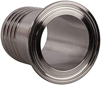 Glacier Tanks Tri Clamp 1.5 inch x 1.5 in Barb Stainless Steel SS304 Rubber Hose Adapter