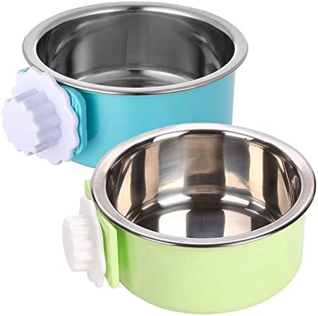 kathson Crate Dog Bowl Removable Stainless Steel Hanging Pet Cage Bowl Food Water Feeder Coop product image