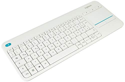 Logitech K400 Plus Touch Wireless Tastatur weiß (QWERTZ, deutsches Tastaturlayout) (Generalüberholt)