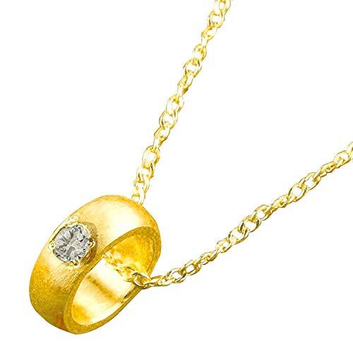 [アトラス] Atrus ネックレス メンズ 24金 純金 ダイヤモンド 一粒 ベビーリング ペンダント 出産祝い 4月誕生石 甲丸 チェーン(sv925イエローメッキ)