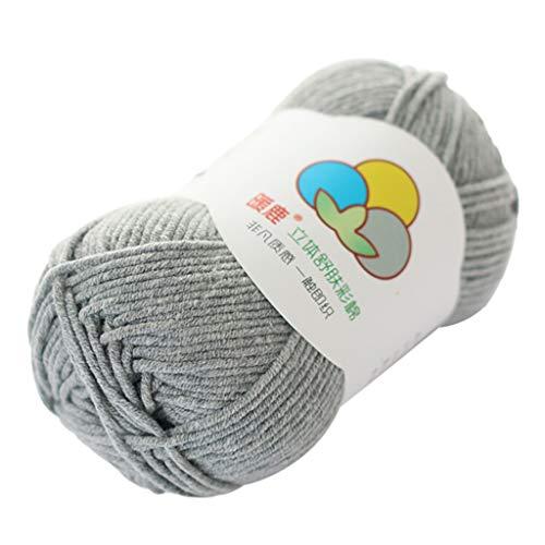 Janly Clearance Sale Lana tejida a mano, 5 hebras de algodón con leche, cálido y suave, hilo de lana, poliéster, textiles de ganchillo para matar tiempo y pasatiempos (gris)