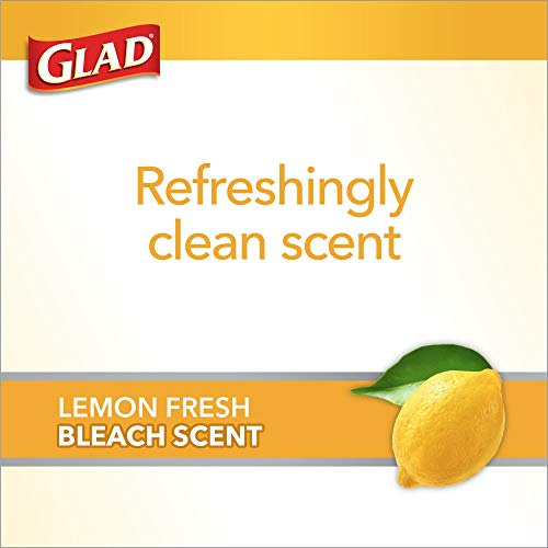 Glad Tall Kitchen Trash Bags ForceFlex Plus with Clorox, 13 Gallon, Lemon Fresh Bleach Scent 90 Count (Package May Vary), White-gray, Lemon Fresh