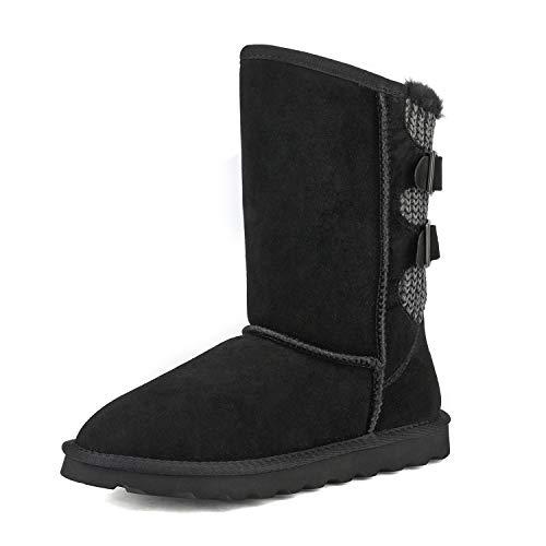 DREAM PAIRS Women's Black Faux Fur Mid Calf Fashion Winter Snow Boots Size 9 M US Sweaty-Buckle