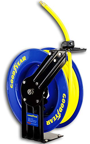 GOODYEAR Air-Hose-Reel Retractable 3/8' Inch x 50' Feet Long Garage Essential Premium Commercial SBR Hose Max 300 Psi Steel Construction Heavy Duty Spring Driven