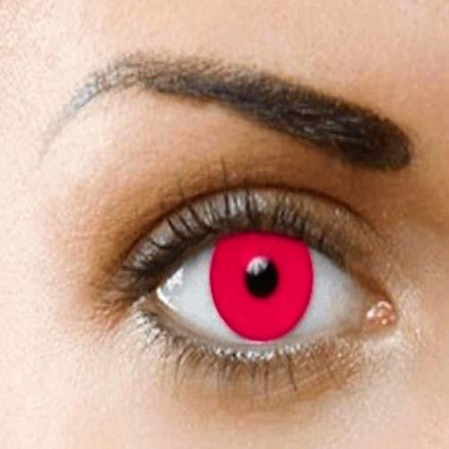 PHANTASY Eyes® Farbige Kontaktlinsen,Ohne Stärke (ROT VAMPIRE) perfekt zum Halloween, festival und Karneval, Jahres Linsen, 1 Paar crazy fun Contact linsen + Kontaktlinsenbelälter!