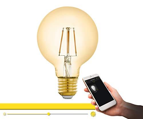 EGLO connect LED E27 Lampe, Smart Home Vintage Glühbirne amber, LED Globe 5,5 Watt (entspricht 41 Watt), 500 Lumen, E27 LED dimmbar, warmweiß, 2200 Kelvin, LED Leuchtmittel G80, Ø 8 cm, 12572