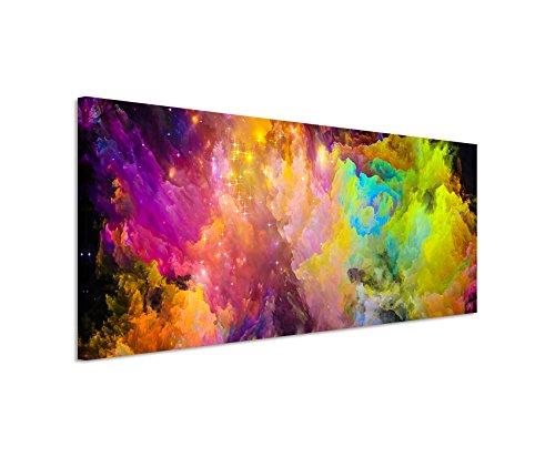 Paul Sinus Art Panoramabild 150x50cm Knallige Bunte Farbwolken auf Leinwand Exklusives Wandbild Moderne Fotografie für ihre Wand in vielen Größen