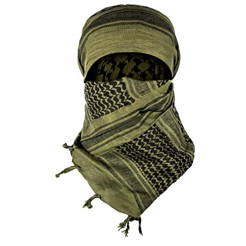 Texas Bushcraft Tactical Shemagh - Authentic Keffiyeh 100% Cotton for your Camping, Hiking and Backpacking Gear (Drab Green)