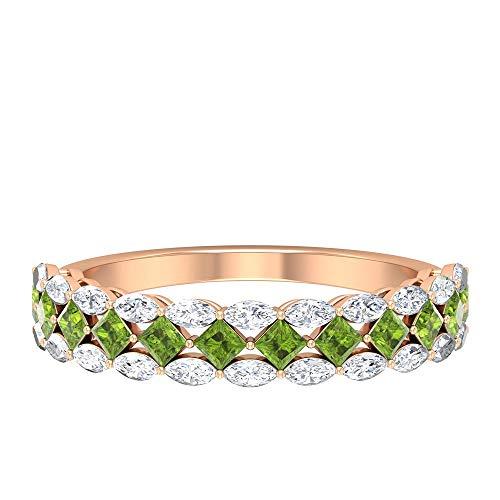 Anillo de peridoto creado en laboratorio de 2 mm, corte princesa, 3 x 1,5 mm, talla marquesa, anillo de diamante de talla marquesa, anillo de oro (calidad AAAA), 14K Oro rosa, Size:EU 57