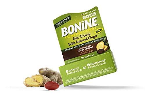 BONINE Motion Sickness High Potency Ginger Softgels, 10 Count