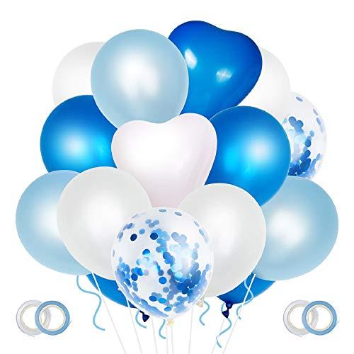 ZWOOS 70 Pezzi Palloncini Blu, Palloncini Elio Compleanno Palloncini Bianchi Decorazioni Compleanno per Decorazioni Festa Nascita Bambino, Baby Shower, Matrimonio Blu, Prima Comunione