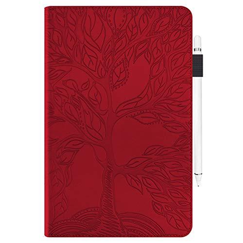 AsWant Huawei Mediapad M5 Lite 10 Hülle Geprägter Baum PU PU Leder Brieftasche BookStyle Flip Cover Stand Kartensteckplatz Tablet Schutzhülle Für Huawei Mediapad M5 Lite/C5 10.1 Zoll 2018 - rot