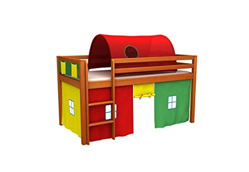 Cama de juego,cama para niños,de alta,cama con tunel,cortinas,colchón