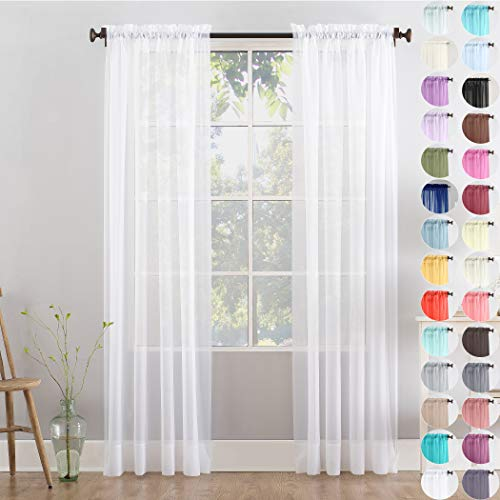 Megachest Woven Voile Slot Top Curtain 2 Panels (28 colors) (pure white, 56' wideX72 drop(W142cmXH183cm))
