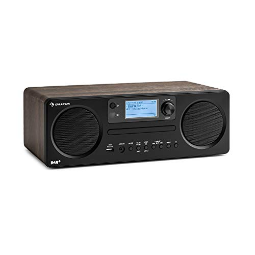 auna Worldwide CD - Internetradio, mit Bluetooth, DAB/DAB+, MP3-fähiger USB-Port, mit CD Player, Spotify Connect, AUX, App Control, Multiroom-Funktion, Timer, walnuss