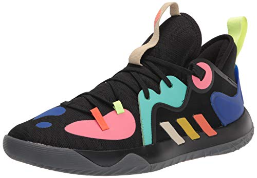 adidas Unisex Harden Stepback 2 Basketball Shoe, Black/Yellow/Acid Mint, 9 US Men