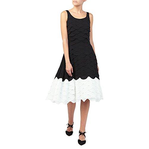 Jacques Vert Women's All Over Scallop Dress, Multicoloured (Multi Black), 10