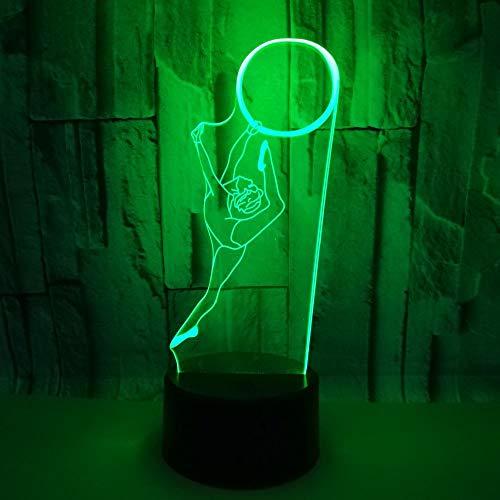 3D Music Ballet Dance LED Lámparas de ilusión óptica Luz de noche 7 colores Touch Art Escultura luces con cables USB Dormitorio Escritorio Mesa Decoración Lámpara para niños Adultos