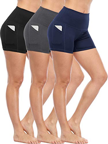 CADMUS Women's Tummy Control Workout Running Short Out Pocket,3 Pack,1016,Black & Grey & Navy Blue,Small