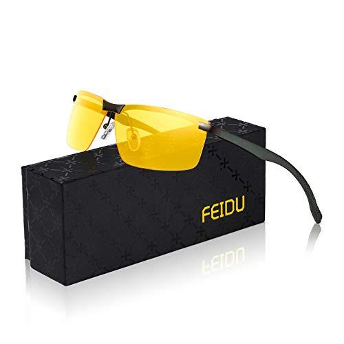 FEIDU Sportbrille Sonnenbrille Herren Polarisierte-HD Lens Metal Frame Driving Shades FD 9005 (Gelb, 57)