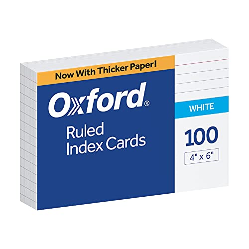 "Oxford 4"" x 6"" Ruled White Index Cards, 100/Pack"